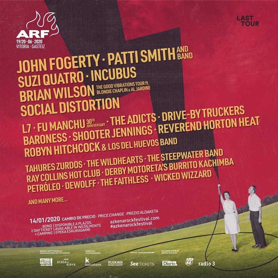 El Azkena Rock Festival confirma a las leyendas del rock John Fogerty, Brian Wilson y Suzi Quatro
