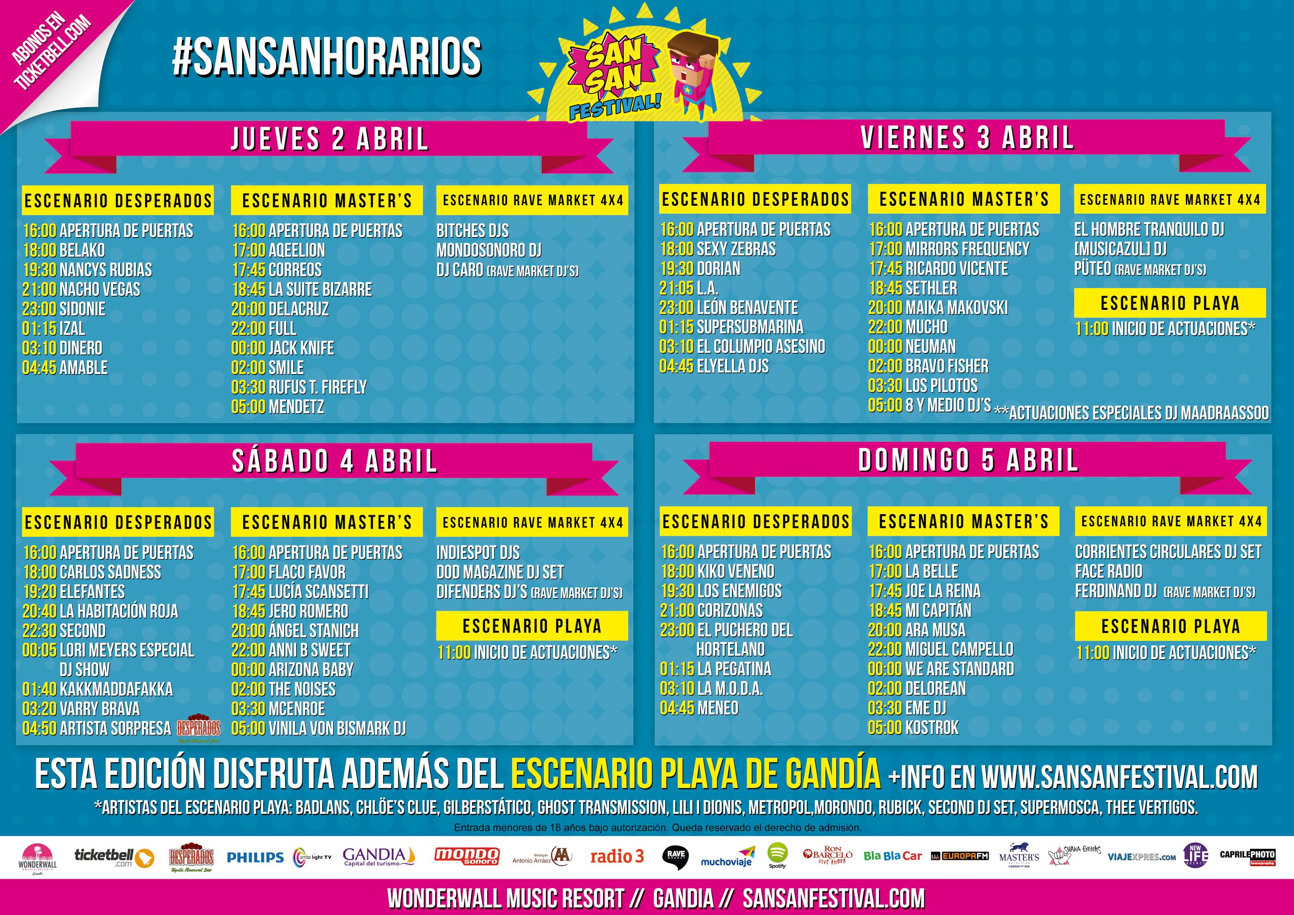 El SanSan Festival publica sus horarios 2015