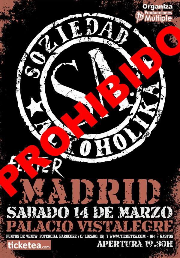 Cancelado el concierto de S.A. programado para este sábado en Madrid